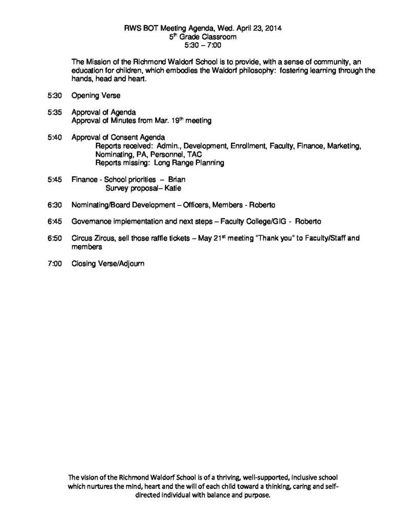 BOT Agenda 4-23-14 | Richmond Waldorf School