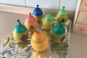 handmade beeswax balloon lantern in progress